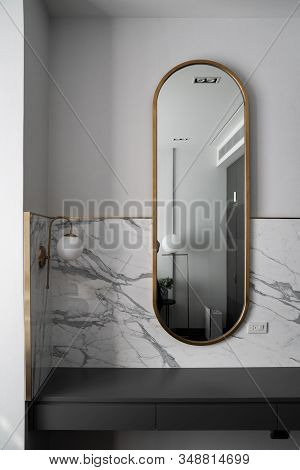 Bedroom Working Corner With Composition Of Gold Stainless Mirror With White Marble Wall And Gold Wal