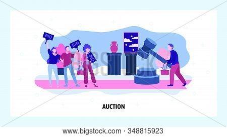 Auction Business Concept. People Make Bid In Public Auction House. Vector Web Site Design Template.