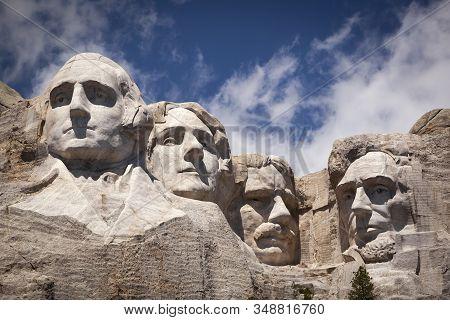 South Dakota, Usa - June 26, 2011: Mount Rushmore National Memorial, Four Ex Presidents Faces Sculpt