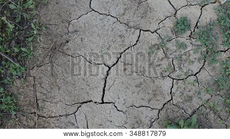 Closeup Of Cracked Dry Earth In Alora Countryside, Andalusia
