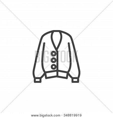 Female Sweater Line Icon. Unisex Clothing Linear Style Sign For Mobile Concept And Web Design. Long