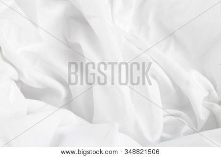 White Silk Or Satin Luxury Cloth Texture Background, Smooth Elegant Fabric Bed Sheet Texture