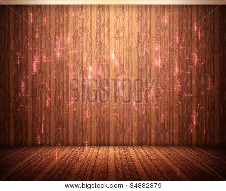 Background of pink illuminations with brown flooring