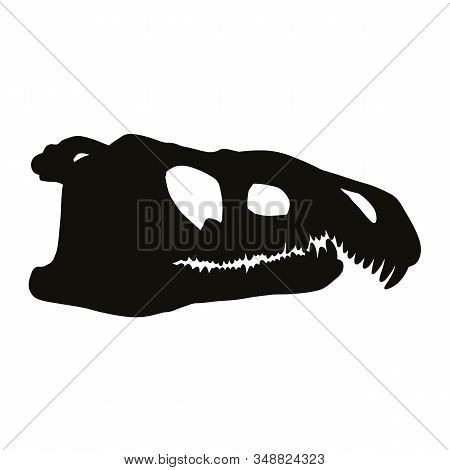 Archosaurus Rossicus Fossilized Skullsilhouette Image. Carnivorous Archosauriform Reptile Dinosaur F