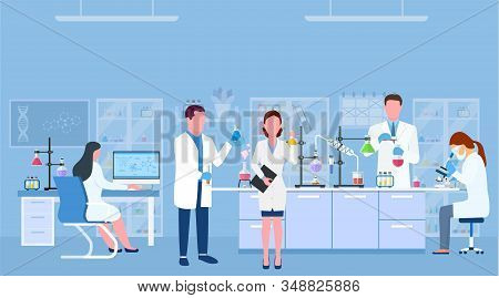 Scientists In Lab. Scientist People Wearing Lab Coats, Science Researches And Chemical Laboratory Ex