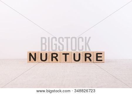 Nurture Word Parenting From Building Blocks On A Light Background