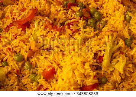 Basmati Rice Vegetable Pulao Indian Dish, Closeup View