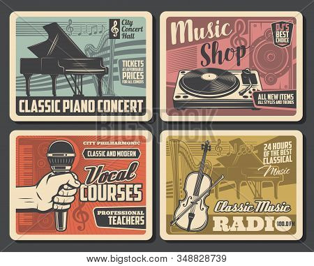Music Instruments Retro Posters, Vocal School Courses And Classic Music Radio Retro Posters. Vector