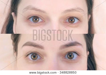 Portrait Of Woman Before And After Tinting Eyebrows Looking At Camera In Cosmetology Clinic, Face Cl