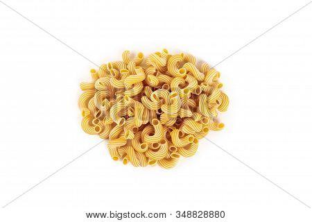 Pasta Cavatappi With Stripes Isolated On White Background.