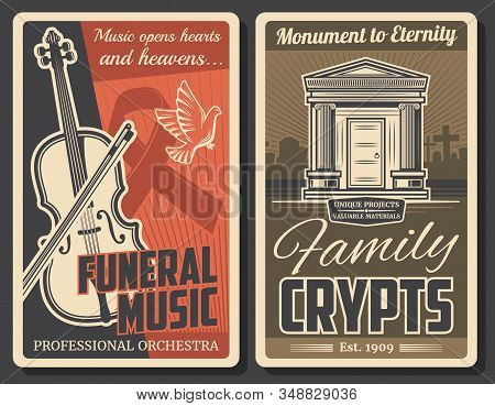 Funeral Ceremony And Farewell Music Service, Burial Crypts And Monuments Production Company. Vector