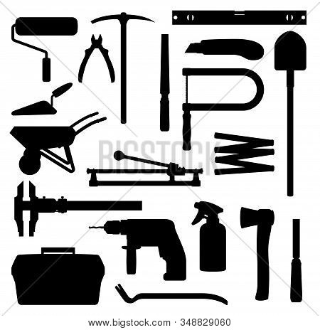 Work Tools, Home Repair, Renovation And Remodeling Handy Works Equipment Silhouette Icons. Vector Wo