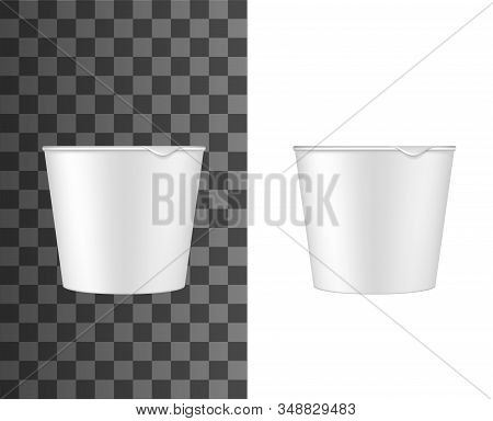 Plastic Measuring Cup, Detergent Powder Measure Cap With Spout. Vector Isolated 3d Mockup Template O