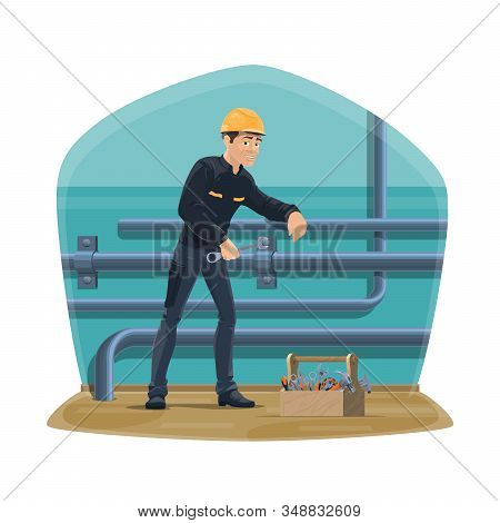 Plumber Service, Water Pipeline Plumbing, Inspection And Repair. Vector Worker Man In Uniform With S