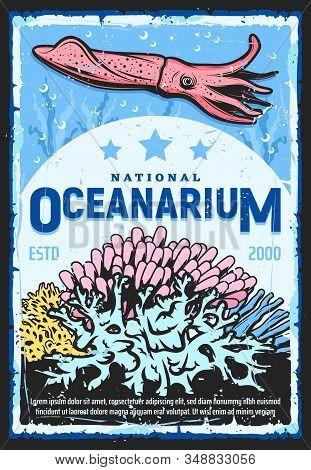 Oceanarium, Underwater Wild Life Show And Zoo Retro Vintage Poster. Vector Marine Monsters And Ocean