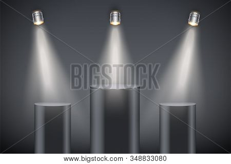 Black Presentation Three Column Podiums On Dark Backdrop With Spotlights. Editable Background Vector