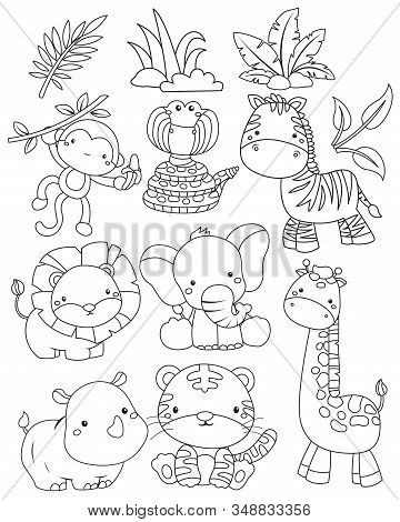 A Vector Of Jungle Animal In Black And White