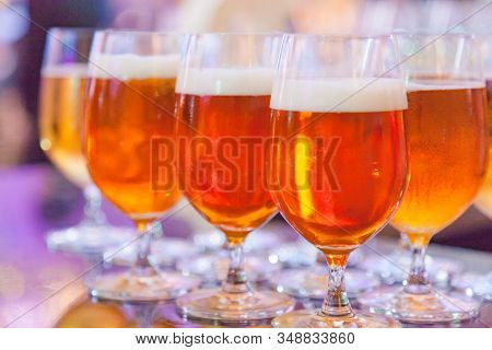 Selective Focused Glasses Of Draught Beer Or Craft Beer, Refreshment, Liquor, Alcoholic Drink, Bever