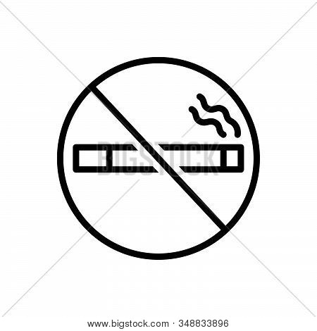 Black Line Icon For No-smoking Smoke Cigarette Forbidden Habit Cigar Tobacco Nicotine  Prohibition T