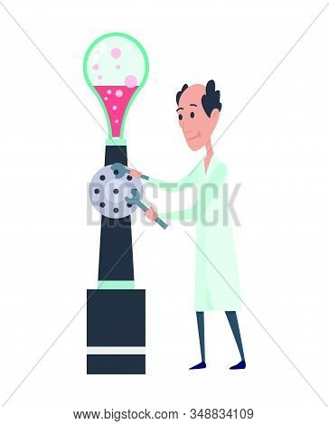 Young Scientists Characters In Laboratory. Doctor Research In A Laboratory Lab. Professor In Work. S