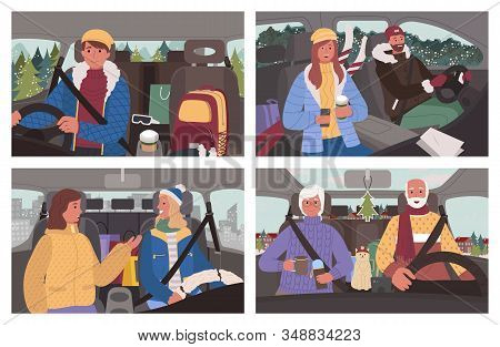 People Sitting In Car And Traveling Together In Winter Road Trip. Man And Woman With Autobag And Cup