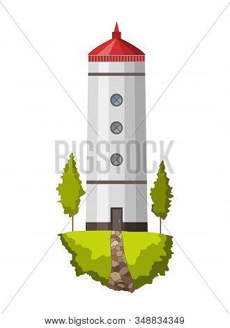 Vector Flat Lighthouse. Cartoon Landscape. Searchlight Tower For Maritime Navigational Guidance. Arc
