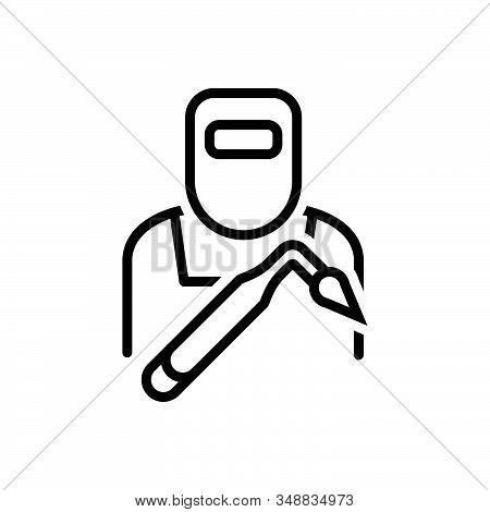 Black Line Icon For Welder Helmet Iron-work Equipment Factory Saprk Tradesman Protection Repair