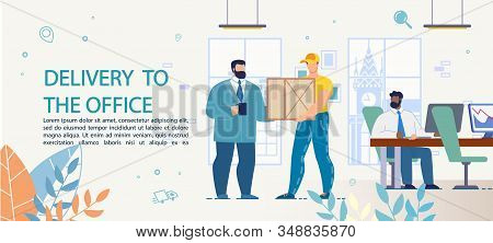 Fast Goods, Food, Appliance Targeted Delivery To Office. Advertising Text Poster With Working People