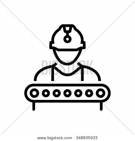 Black Line Icon For Industry-worker Construction Supervisor Industry Manager Helmet Factory Employee