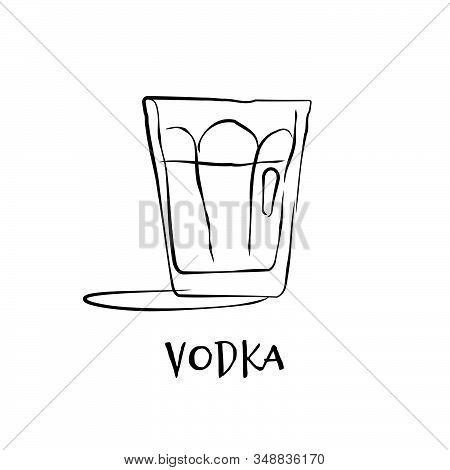 Shot Vodka. Retro Glass Vodka Hand Draw, Design For Any Purposes. Graphic Art. Drink Element. Black