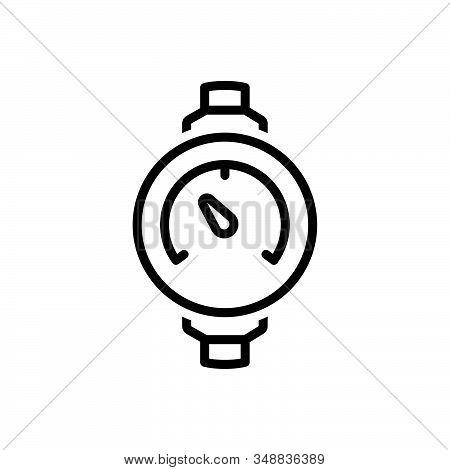 Black Line Icon For Pressure-meter Manometer Ammeter Analog Average Equipment Air-compressor Technol