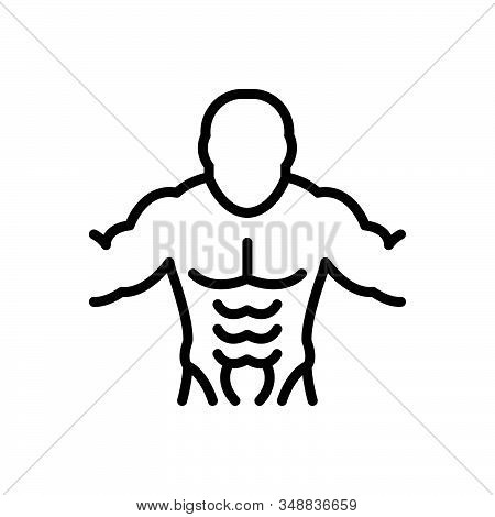 Black Line Icon For Abs Muscles Abdomen Bodybuilder Diet Exercise