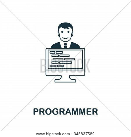 Programmer Line Icon. Thin Design Style From Programmer Icon Collection. Simple Programmer Icon For