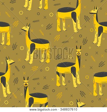 Seamless Pattern With Unusual Lamas And Ornament In Native American Style. Llamas With Different Fac