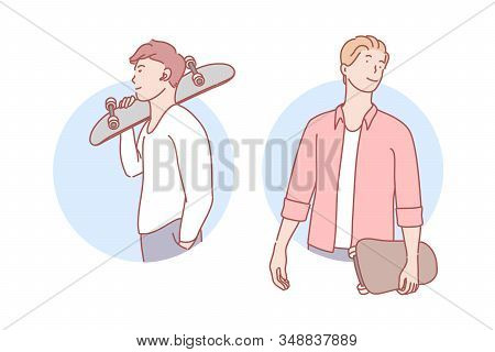 Guys With Skateboards Set Concept. Happy Stylish Man Student Is Standing And Holding Skateboard In H