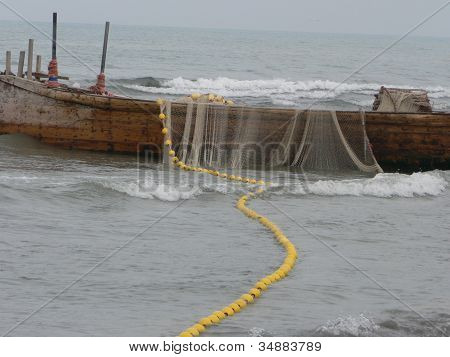Fishing boats and fishing nets