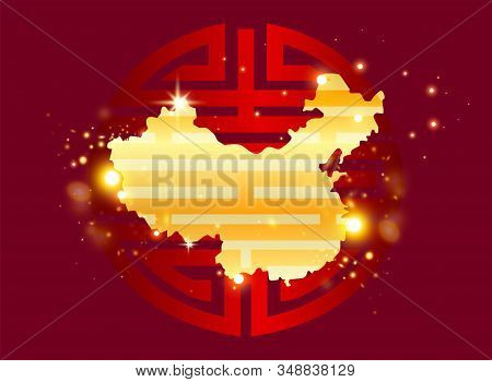 Chinese Symbol Of Health And Longevity. Vector Clipart. Gold Glitter On A Red Background.