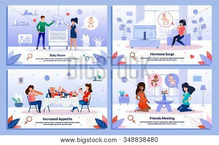 Pregnant Woman Relationships, Appetite Increasing, Hormone Surge Trendy Flat Vector Banner, Poster S