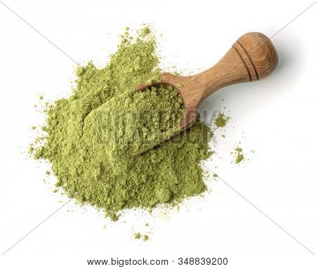 Wooden scoop of henna powder isolated on white