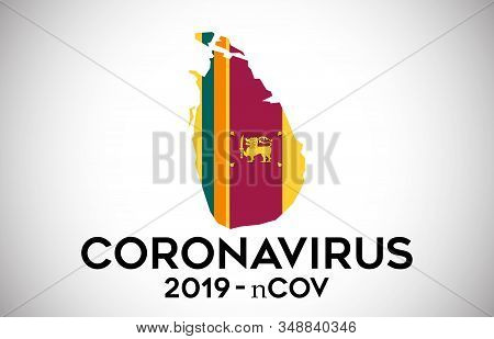 Coronavirus In  Sri Lanka And Country Flag Inside Country Border Map Vector Design. 2019-ncov With S