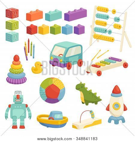Set Of Childrens Educational Toys With A Cute Design. Funny Ball, Rocket, Constructor And Other Logi