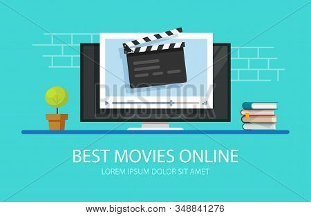 Tv Video Player With Film Slate Clapper Board Or Television Online Cinema Multimedia Vector Flat Car