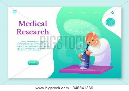 Medical Research Landing Pagelayout. Senior Scientist Looking In Microscope Character. Biologist, Me