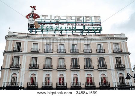 Madrid, Spain - January 25, 2020: The Tio Pepe Sign Advertising The Famous Brand Of Sherry On Top Of