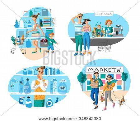 Market Shopping Flat Vector Illustrations Set. Family In Supermarket Cartoon Characters. Consumers I