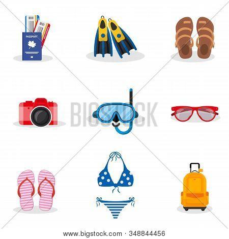 Summer Vacation Vector Illustrations Set. Sunglasses, Flippers, Diving Mask, Swimsuit, Flip Flops Is