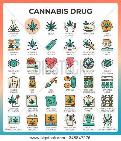 Medical Cannabis Concept Line Icons Set In Modern Line Icon Style For Ui, Ux, Web, App Design