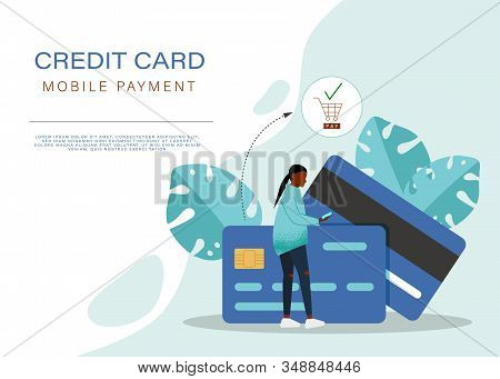 Business concept. Business people. Business background. Vector flat style illustration of man and african american woman in front of a huge cell phone. Credit card icon on the screen of smartphone. Minimalism design with exaggerated objects. Online paymen