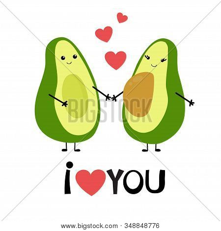 Cute Cartoon Avocado Couple Holding Hands, Valentines Day Greeting Card. Avocado Love With Hearts Ve