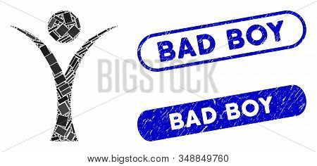 Mosaic Abstract Man And Grunge Stamp Seals With Bad Boy Caption. Mosaic Vector Abstract Man Is Desig